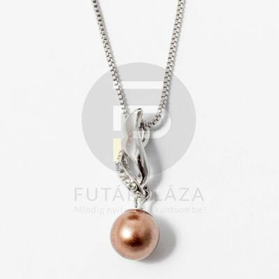Ezüst bevonatos gyöngy medálos nyaklánc bronz