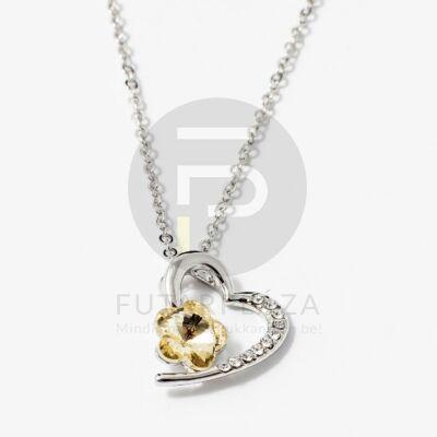 Ezüst bevonatos szív medálos nyaklánc sárga köves