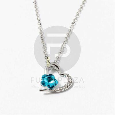Ezüst bevonatos szív medálos nyaklánc kék köves