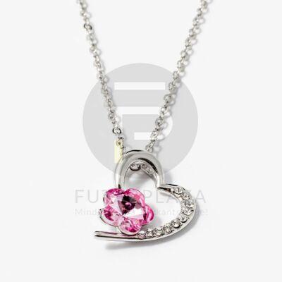 Ezüst bevonatos szív medálos nyaklánc pink köves