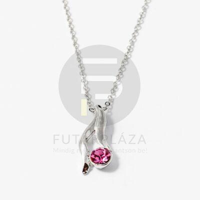 Ezüst bevonatos nyaklánc köves medállal pink