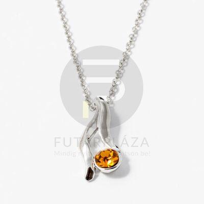 Ezüst bevonatos nyaklánc köves medállal aranysárga