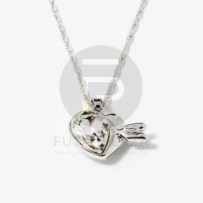 Nyíllal átlőtt szív medálos nyaklánc fehér kővel