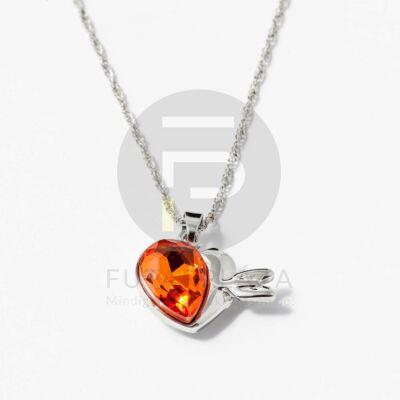 Nyíllal átlőtt szív medálos nyaklánc narancssárga kővel