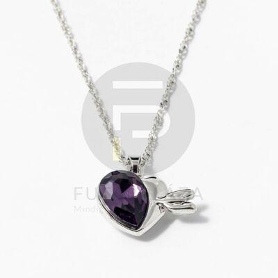 Nyíllal átlőtt szív medálos nyaklánc sötétlila kővel