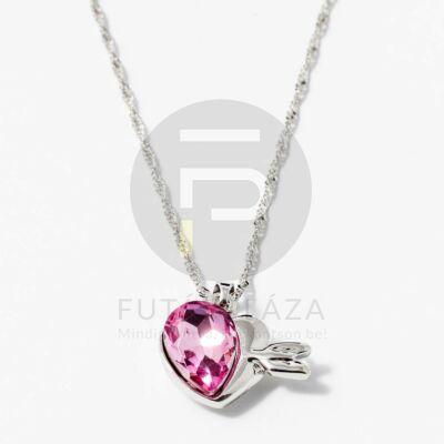 Nyíllal átlőtt szív medálos nyaklánc pink kővel