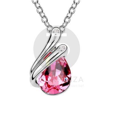 Ezüst bevonatos csepp medálos nyaklánc pink köves