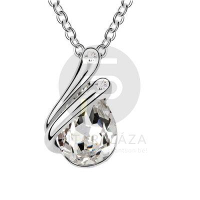 Ezüst bevonatos csepp medálos nyaklánc fehér köves