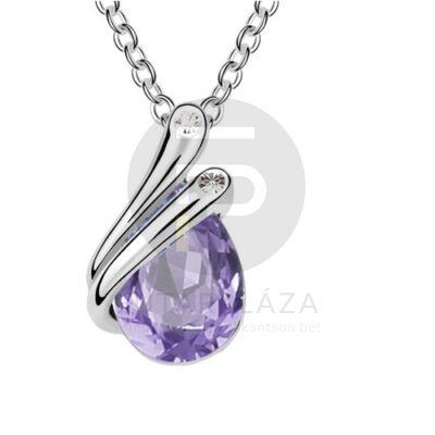 Ezüst bevonatos csepp medálos nyaklánc lila köves