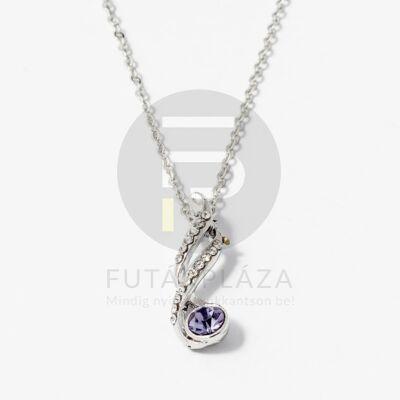 Fehérarany bevonatos nyaklánc lila köves medállal