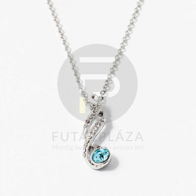 Fehérarany bevonatos nyaklánc kék köves medállal