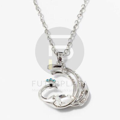 Páva medálos nyaklánc fehér kővel