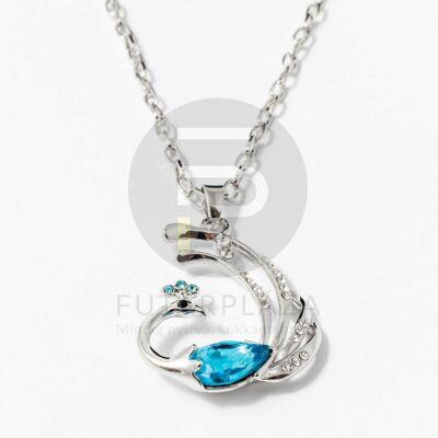 Páva medálos nyaklánc aquakék kővel