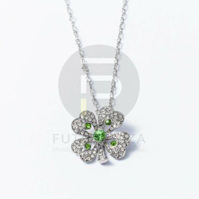 Ezüst bevonatos lóhere medálos nyaklánc zöld