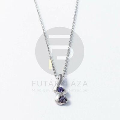 Ezüst bevonatos nyaklánc lila köves medállal
