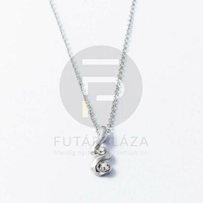 Ezüst bevonatos nyaklánc fehér köves medállal