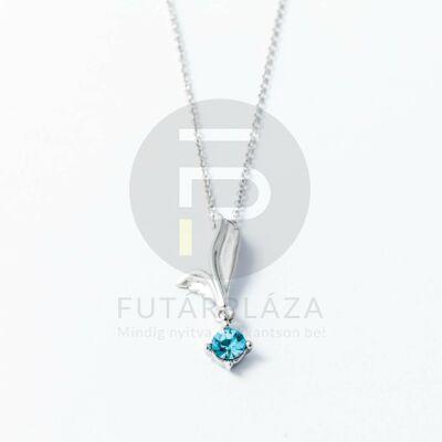 Ezüst bevonatos levél medálos nyaklánc kék kővel