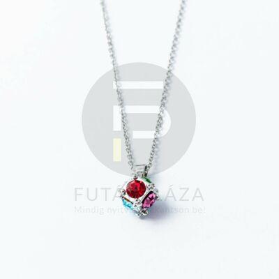 Ezüst bevonatos kocka medálos nyaklánc multicolor