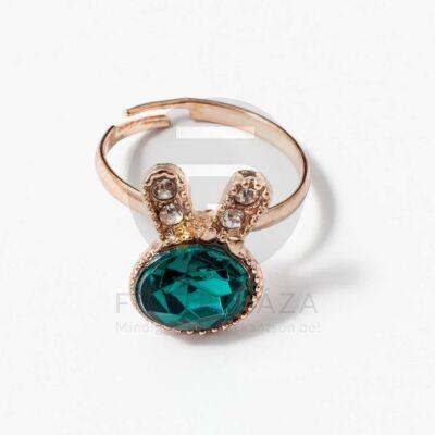 Arany bevonatos nyuszis gyűrű zöld kővel