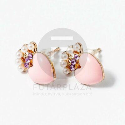 Rózsaszín szivecske beszúrós fülbevaló