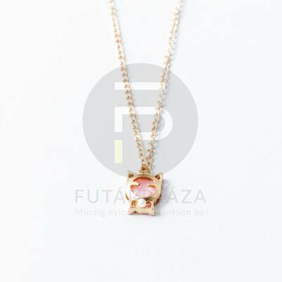 Arany bevonatos cica medálos nyaklánc