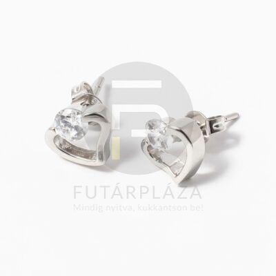 Szivecske beszúrós fülbevaló fehér kővel