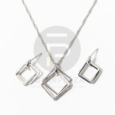 Ezüst bevonatos tripla négyszög ékszer szett