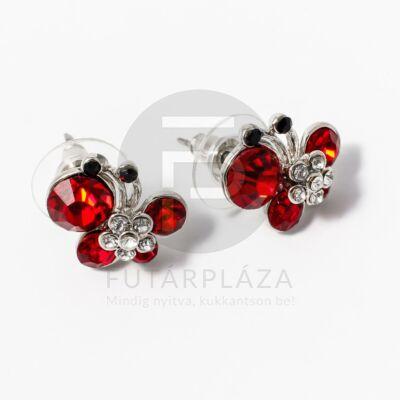 Ezüst bevonatos pillangós fülbevaló piros kövekkel