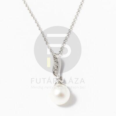 Ezüst bevonatos gyöngy medálos nyaklánc