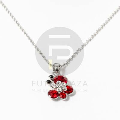Ezüst bevonatos pillangó medálos nyaklánc piros kövekkel