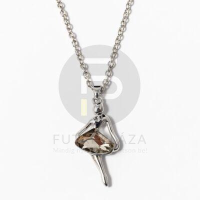 Ezüst bevonatos balerina medálos nyaklánc barna kővel