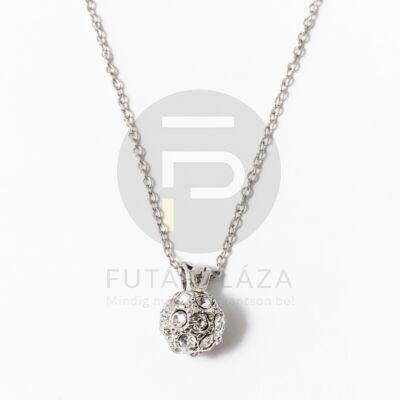 Ezüst bevonatos shamballa nyaklánc fehér kövekkel
