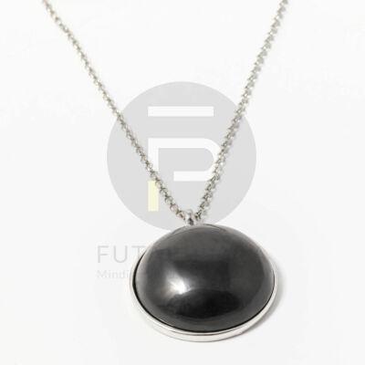 Ezüst bevonatos félgömb medálos nyaklánc fekete