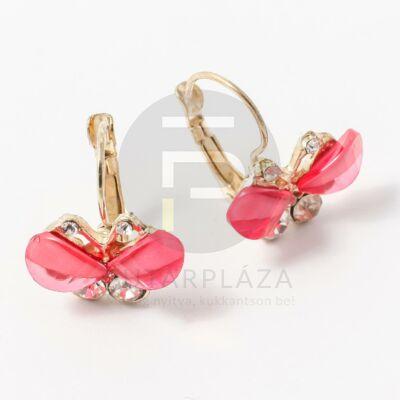Köves pillangó fülbevaló pink