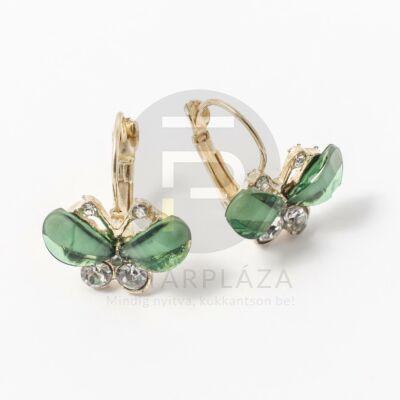 Köves pillangó fülbevaló zöld