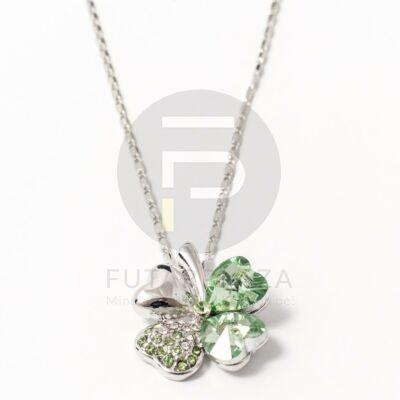 Fehérarany bevonatos nyaklánc lóhere medálos zöld