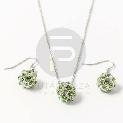 Fém shamballa ékszer szett zöld