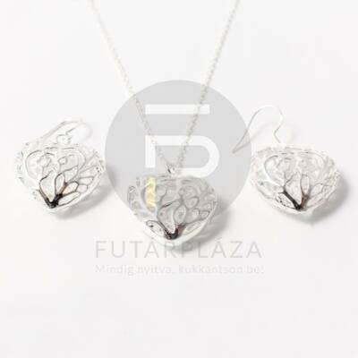 Ezüst bevonatos szív függős ékszer szett