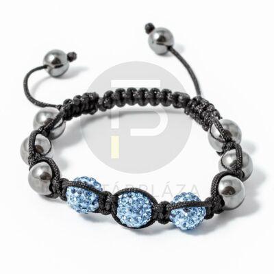 Shamballa karkötő 3 kristály + 6 csakragolyó kék