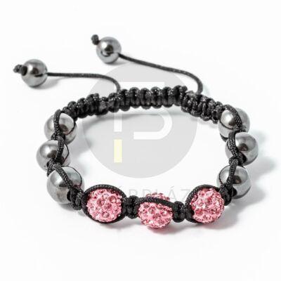 Shamballa karkötő 3 kristály + 6 csakragolyó pink