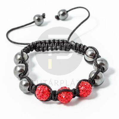 Shamballa karkötő 3 kristály + 6 csakragolyó piros