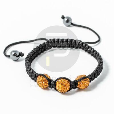Shamballa karkötő 3 kristály narancssárga