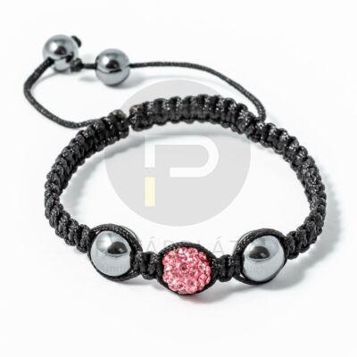 Shamballa karkötő 1 kristály + 2 csakragolyó pink