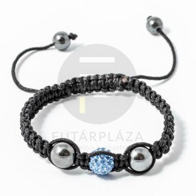 Shamballa karkötő 1 kristály + 2 csakragolyó kék
