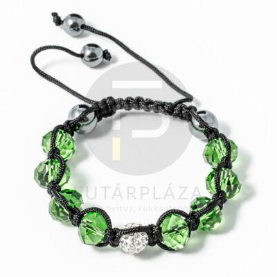 Shamballa karkötő 1 kristály + 8 üveggyöngy zöld