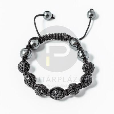 Shamballa karkötő 7 kristály + 4 csakragolyó fekete