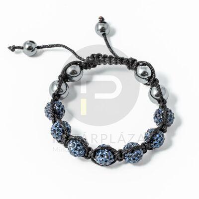 Shamballa karkötő 7 kristály + 4 csakragolyó sötétkék