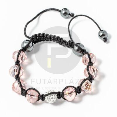 Shamballa karkötő 1 kristály + 8 üveggyöngy rózsaszín