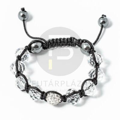 Shamballa karkötő 1 kristály + 8 üveggyöngy fehér