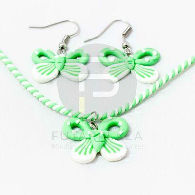 Gyerek ékszer szett pillangós - zöld